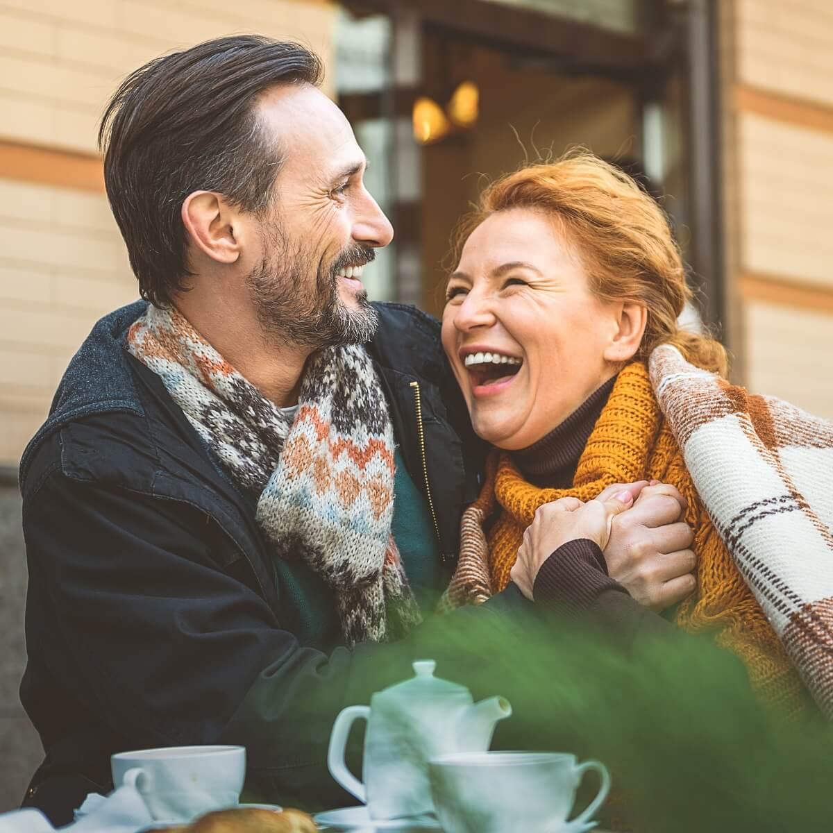 Older couple in autumn square